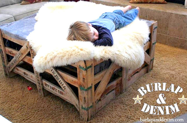 Shipping crate coffee table by Burlap and Denim, featured on I Love That Junk