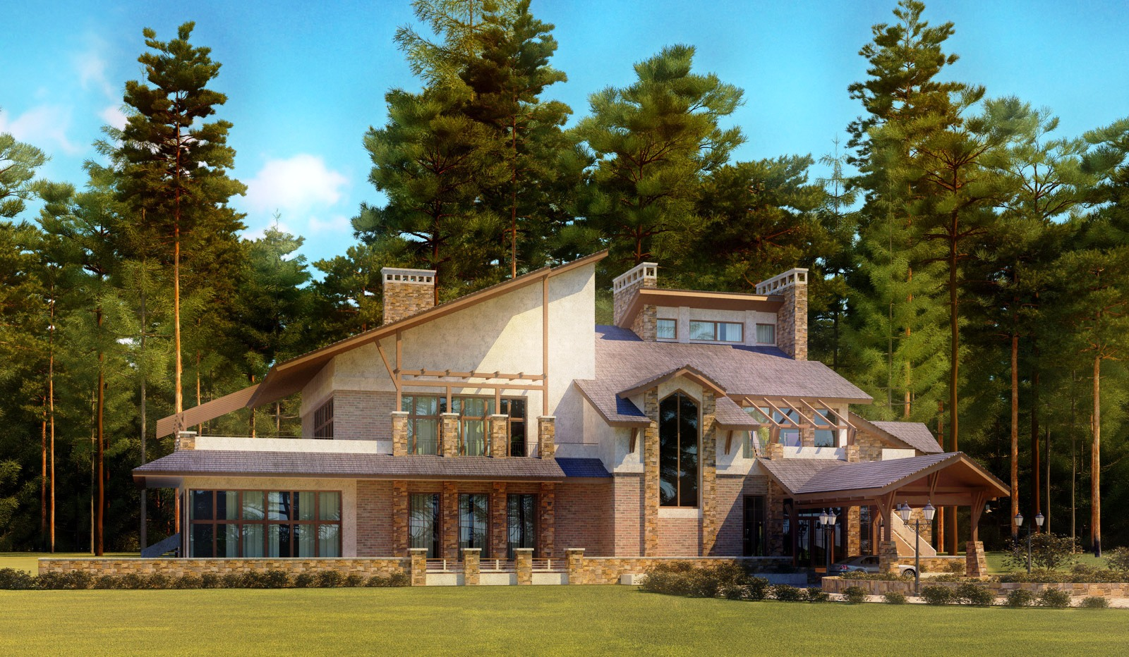 casatreschic interior  America    s Best House Plans   House Plan    America    s Best House Plans   House Plan Designs  D Front ELevation