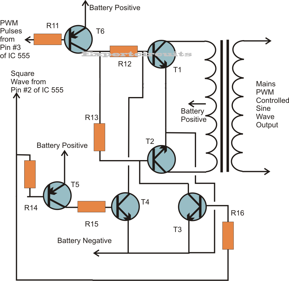 Pure Sine Wave Inverter Using Ic 555 Expert Circuits Pin Diagram