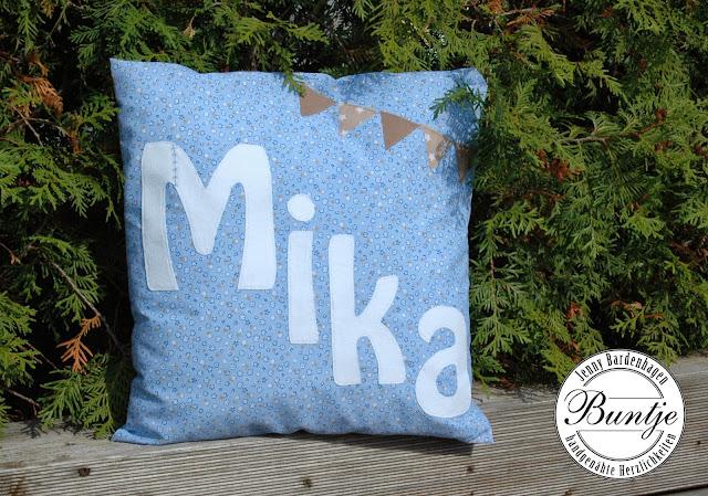 Kissen Name Geschenk Geburt Taufe Junge blau beige Wimpel Baumwolle handmade Buntje