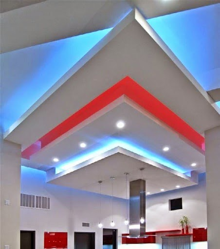 False ceiling pop designs with led ceiling lighting ideas for Pop interior design for hall