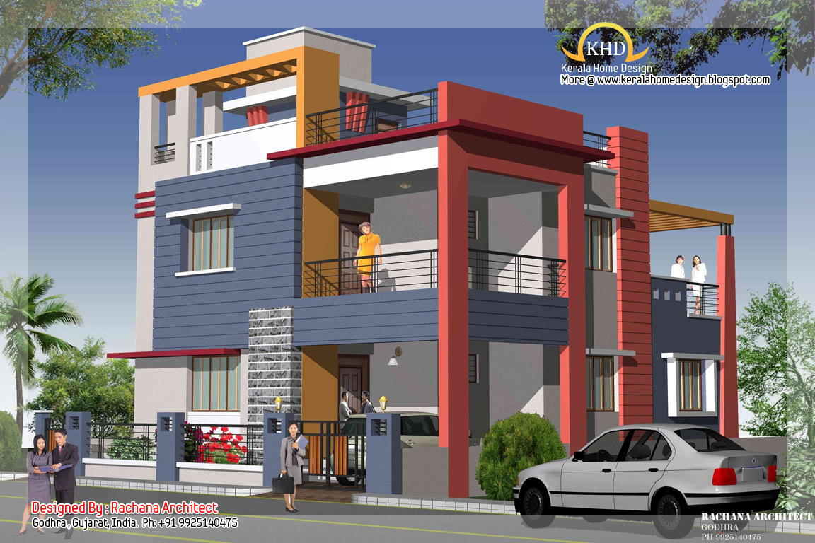 Duplex house plan and elevation 2349 sq ft indian for Duplex house india