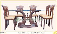 Kursi dan Meja Makan Ukiran Kayu Jati Ikan Table 6 Chair