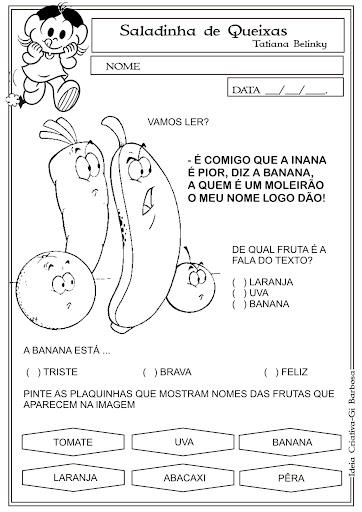 atividades alfabetizacao jardim horta pomar:Atividade Saladinha de Queixas Projeto Alimentação