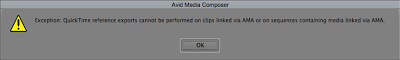 The resulting error when trying to export an AMA clip as a Quicktime reference movie.