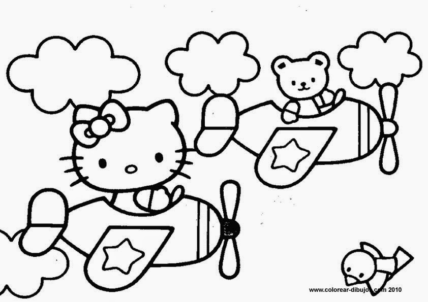 Disegni da colorare hello kitty aereo Coloring drawings for kids
