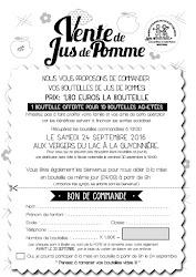 COMMANDE DE JUS DE POMMES