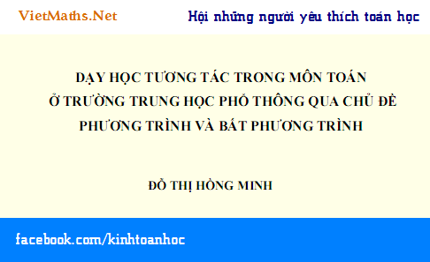 luan an tien si day hoc tuong tac phan phuong trinh va bat phuong trinh cua do thi hong minh