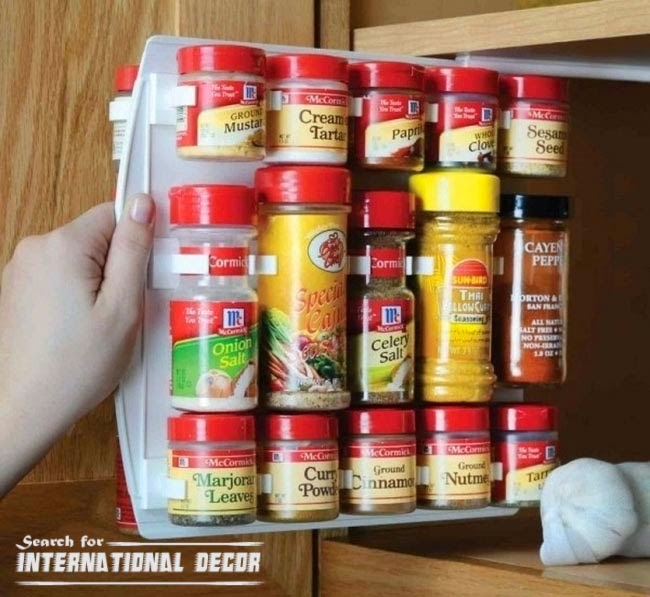 Drawer for spices, organizing small apartment, space saving ideas