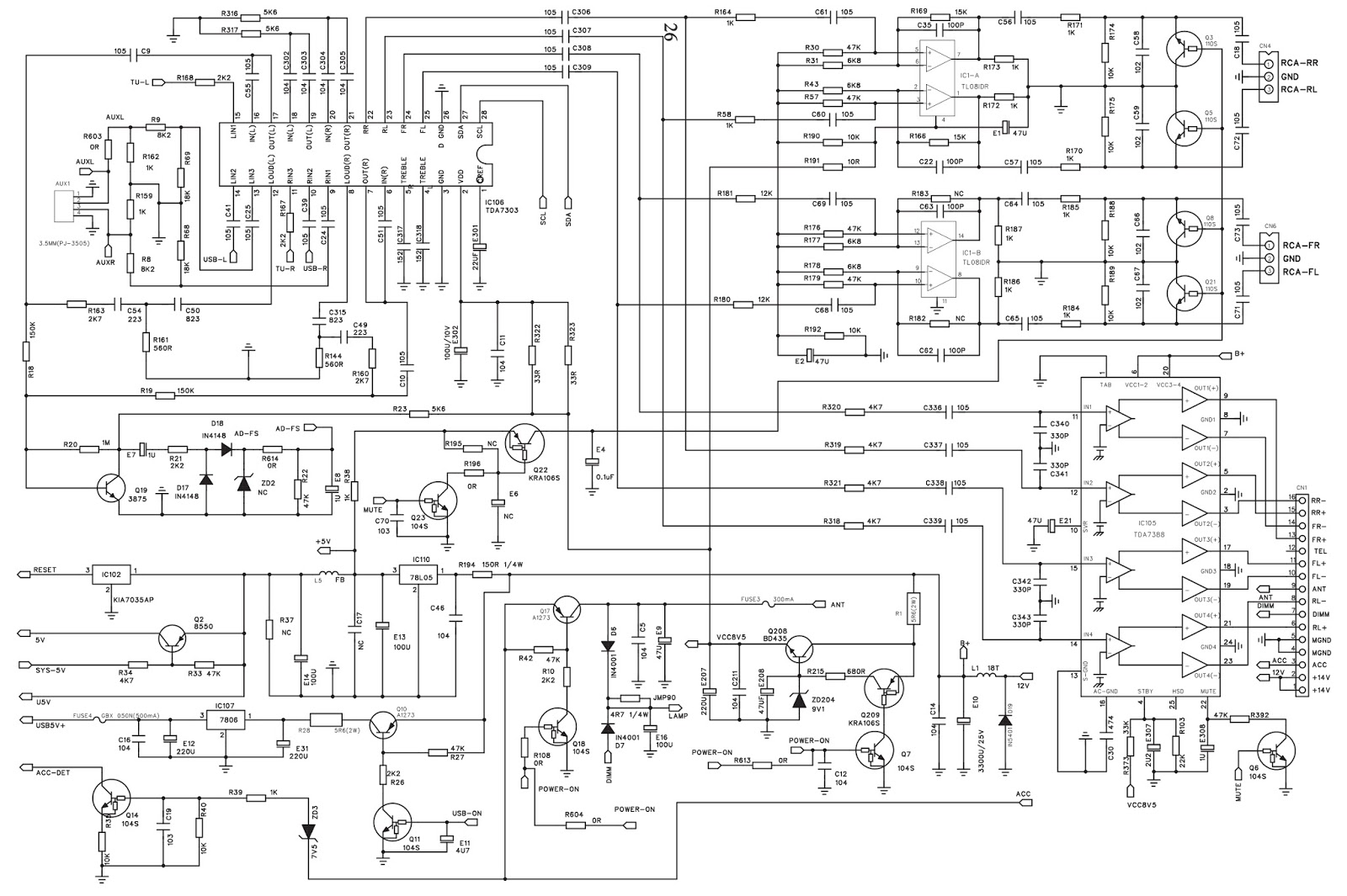 electro help  h-buster hbdu-3200 - car audio system - schematic diagram