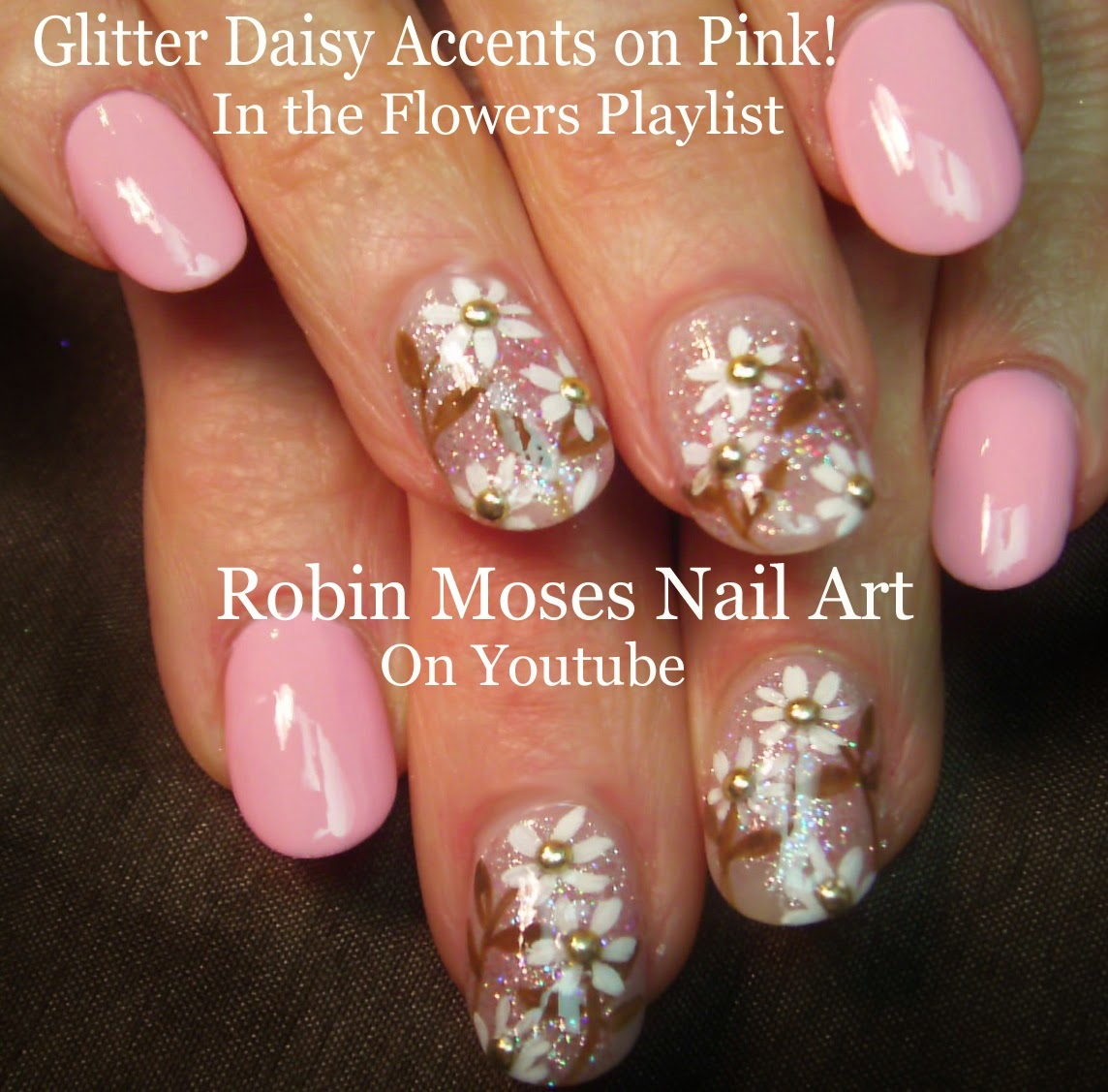 Nail Art by Robin Moses: Soft Spring Daisy Nail Art Tutorial on Pink ...