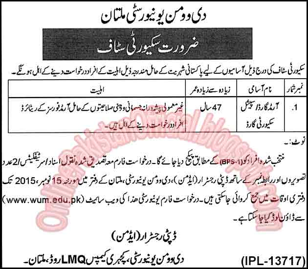 Security Staff Required For The Women University Multan, Multan