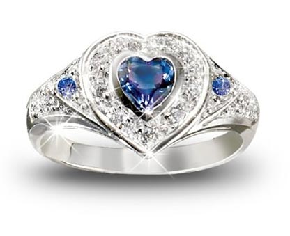 True Heart Tanzanite And Diamond Heart Shaped Ring: Romantic Jewelry Gift For Her by The Bradford Exchange