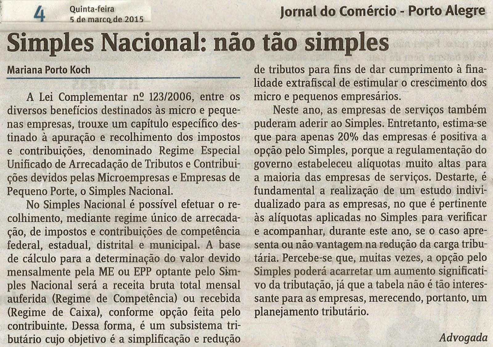 Simples Nacional: não tão simples – Jornal do Comércio 05.03.2015 – Mariana Porto Koch