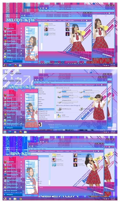 tema melody, nabilah dan rena jkt48 windows 7