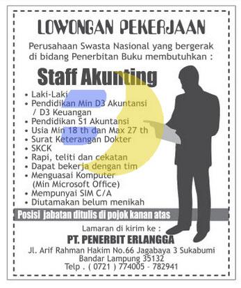 Lowongan Kerja PT. Penerbit Erlangga Lampung, Senin 13 April 2015