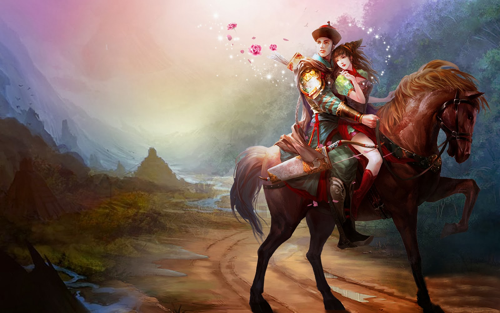 Asian-lovers-riding-horse-romantic-paintings-wallpapers.jpg