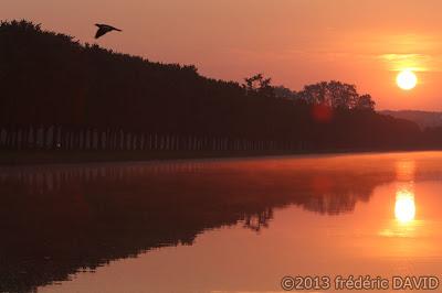 lever soleil aube canal château Fontainebleau silhouette Seine et Marne