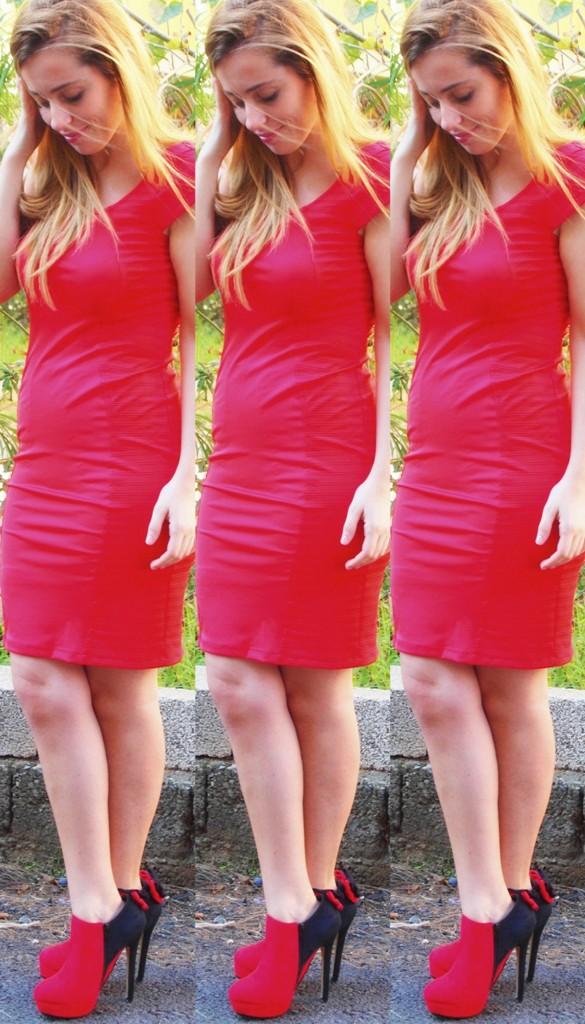 vintage kırmızı elbise