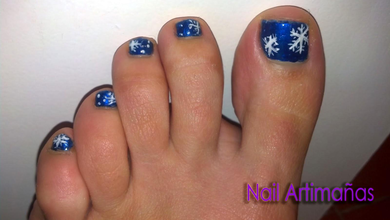 nail artimañas: Reto Navidad: Nieve / Pedicura copos de nieve
