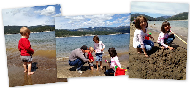 The kids and grandma playing in the sand and water at Shaver Lake, CA.