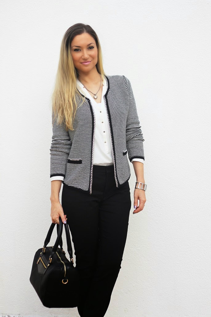 look do dia, outfit, ootd, look of the day, cardigan, black and white, evento tous, tendências, outono inverno 2014 2015, casaco primark, calvin klein watch, pimkie, zara, accessorize, style statement, blog de moda portugal, blogues de moda portugueses, back to the origins, happiness by tous, tous jewelry, tous bags, carteiras tous