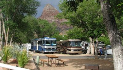 Camping i Springdale ved Zion National Park i Utah.