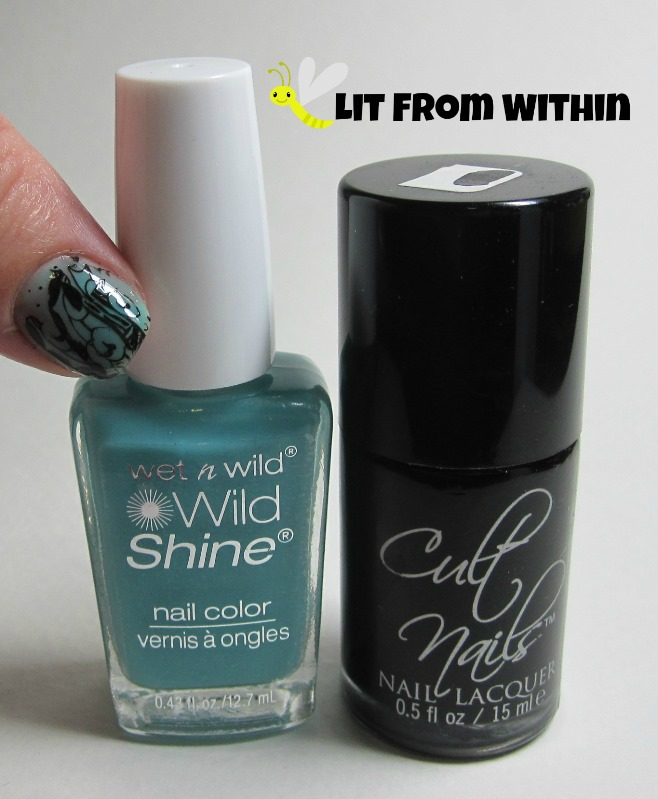 Bottle shot:  Wet 'n Wild Gyp-Sea Green, and Cult Nails Nevermore.