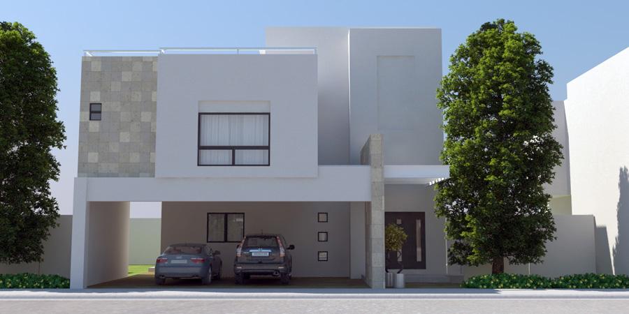Fachadas de casas modernas casa contempor nea con cochera for Casa con jardin al frente