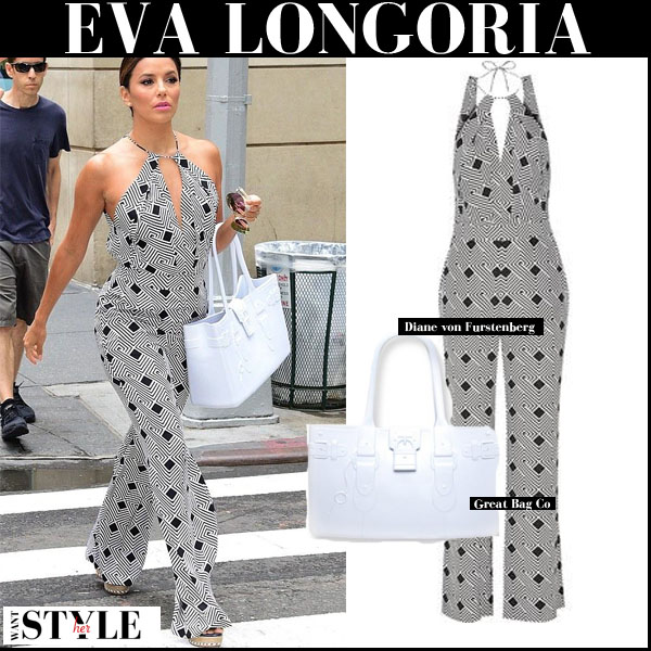 Eva Longoria in grey geo print DVF Ireland jumpsuit with white bag streetstyle september 2015