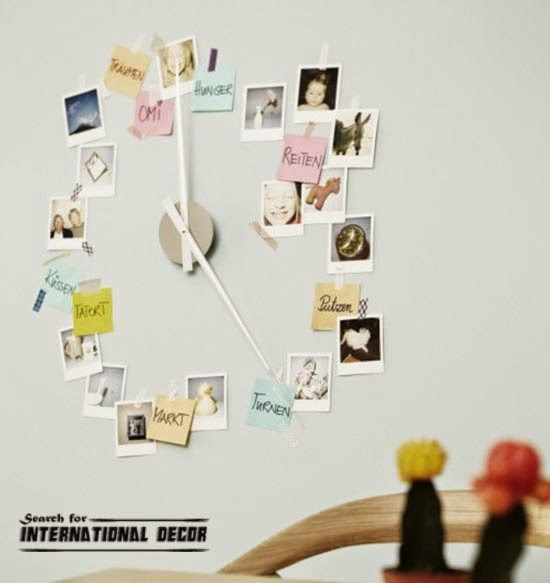 diy wall clock, cool wall clocks,creative wall clocks,photos wall clock