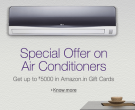 Buy Kenstar ACs Get 10% Cash Back on Axis Bank Credit and Debit Cards on purchase of ACs and Amazon Gift Cards Upto Rs.5000