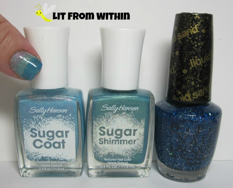 Bottle shot:  Sally Hansen Sugar Coat in Royal Icing, Sally Hansen Sugar Shimmer Work Of Tart, and OPI Get Your Number.