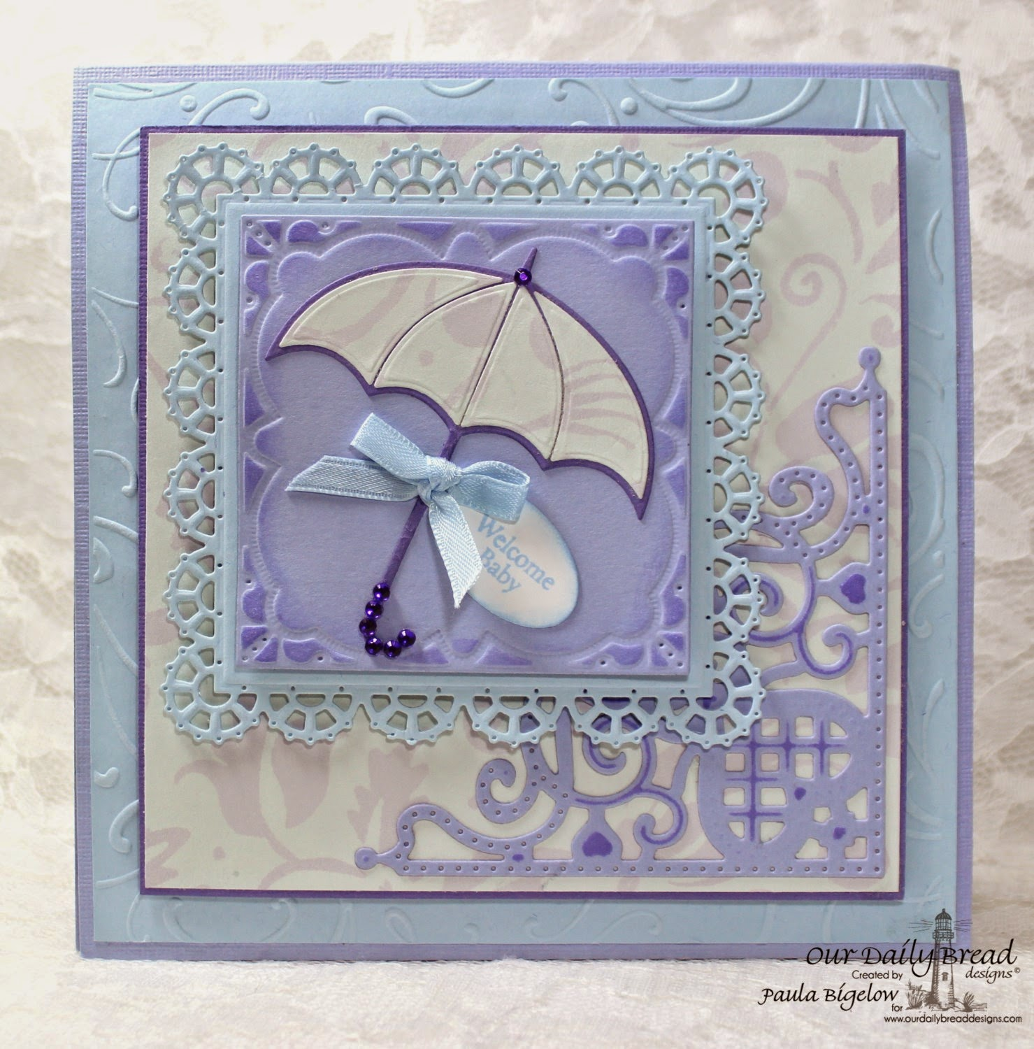 Our Daily Bread Designs, Mini Tag Sentiments, April Showers, All Occasion Sentiments, ODBD Umbrellas Dies, ODBD Layered Lacey Squares Dies, ODBD Mini Tags Dies, ODBD Decorative Corners Dies, ODBD Clouds & Raindrops Dies, Designed by Paula Bigelow