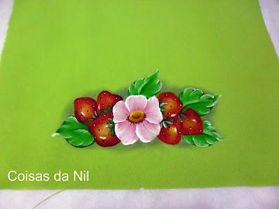 """""""pintura em oxford morangos e flor rosa"""""""