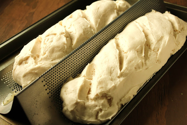 gluten-free french bread rising in pan