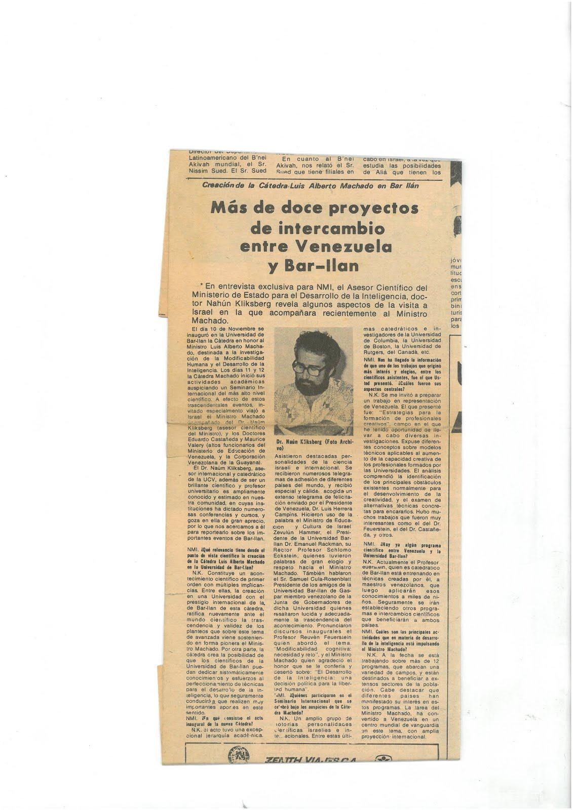 34 - Periódico Nuevo Mundo Israelita,Venezuela ,5/12/1980. Reportaje a Naum Kliksberg.