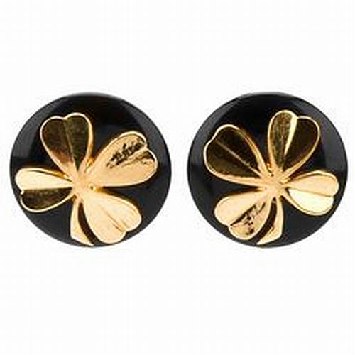 Chanel stud clover earrings