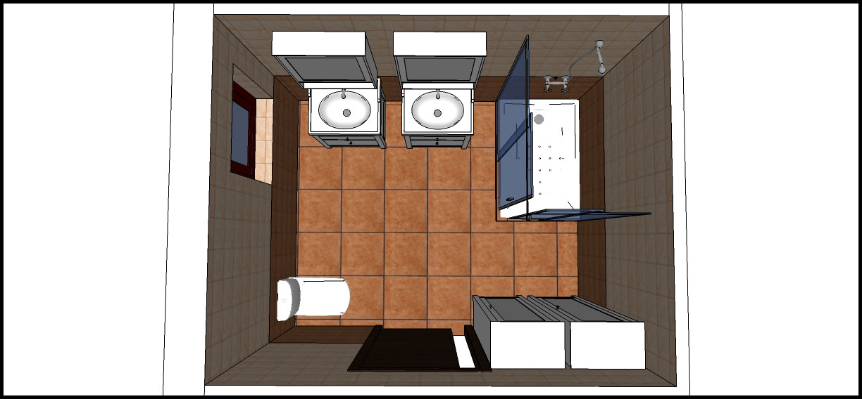 Baño Vista En Planta:Vista aérea del baño Con muebles de lavabo, plato de ducha, inodoro
