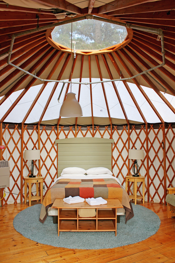 Inside a comfy yurt at Treebones, Big Sur