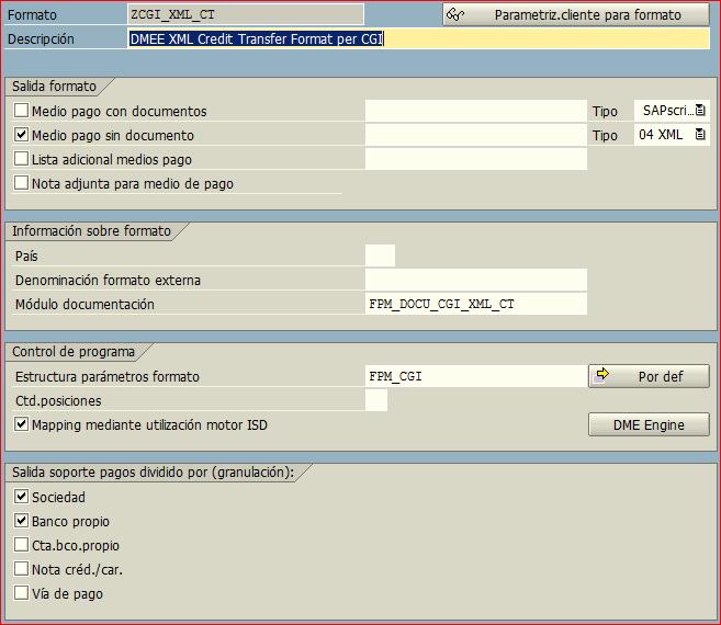 Formato medios de pago SEPA CT