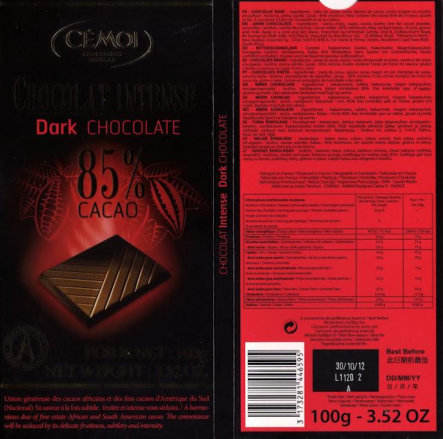 tablette de chocolat noir dégustation cémoi chocolat intense 85