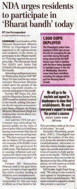 former MP Satya Pal Jain said the Bharatiya Janta Party would be actively involved in the bandh........