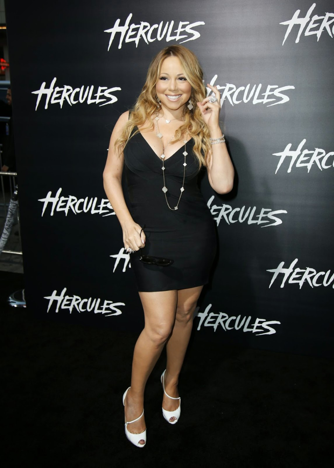 Mariah Carey shows off curves in a short black dress at the 'Hercules' LA premiere