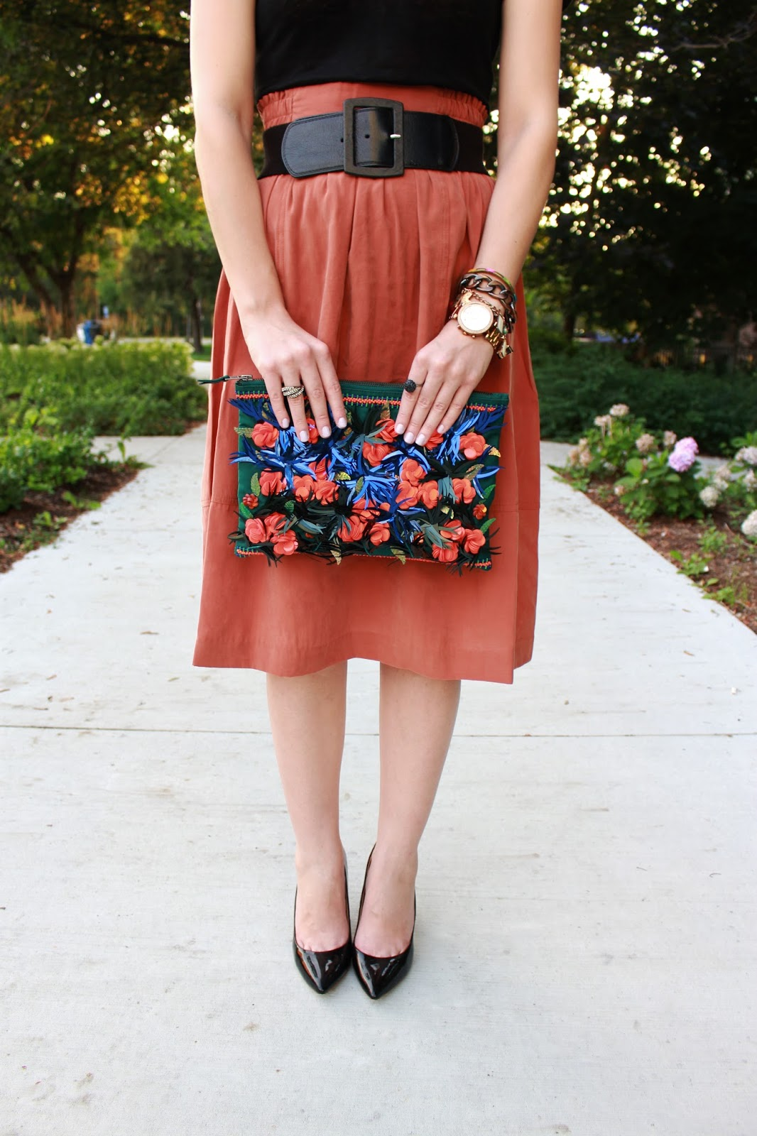 bijuleni- midi fall skirt and 424 Fifth clutch