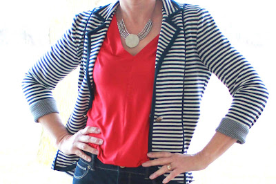 Cotton striped blazer