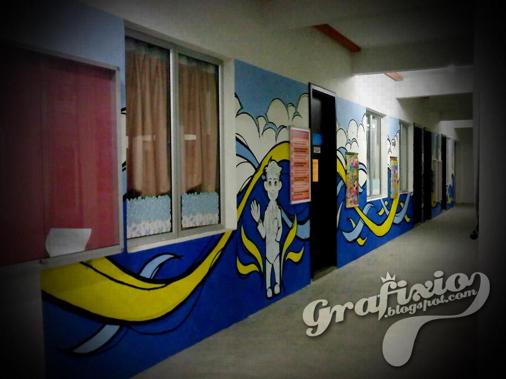 Grafixio mural for health room sekolah kebangsaan bandar for Mural sekolah