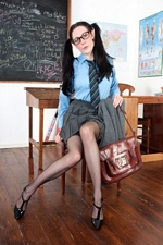 Oops! Geeky schoolgirl Samantha Bentley forgot to wear her panties! - VF Academy