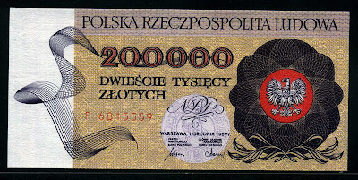Poland currency money banknotes 200000 Zloty Zlotych banknote