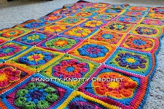 Knotty Knotty Crochet: bright flower afghan FREE PATTERN!
